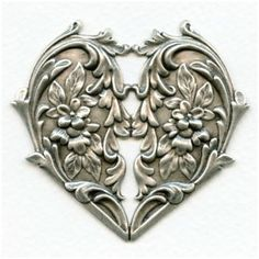 ❥ Heart and Flowers Oxidized Silver Stamping 65mm