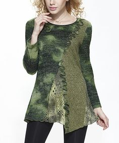 Look at this #zulilyfind! Green Mottle Asymmetrical Tunic #zulilyfinds