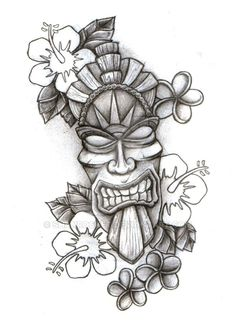 Tiki Mask Sketch by Shanrocket on DeviantArt Tiki Tattoo, Totem Tattoo, Hawaiianisches Tattoo, Head Tattoos, Body Art Tattoos, Tattoo Drawings, Sleeve Tattoos, Maori Tattoos, Tattoo Pics