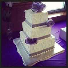 Purple and gray wedding cake