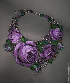 Buy Necklace - Wreath of purple roses. Bead Embroidery Jewelry, Fabric Jewelry, Beaded Embroidery, Jewelry Art, Beaded Jewelry, Handmade Jewelry, Beaded Necklace, Beaded Collar, Beaded Bags