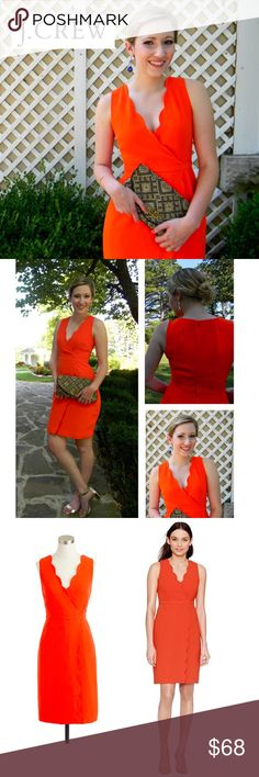 EUC Gorgeous! J Crew Orange Scallop Dress 4 EUC J Crew Orange Scallop Dress - Size 4  Excellent Used Condition! No stains, snags, pulls, etc  Size 4 XS could also fit a 6 if you want a tighter fit  Beautiful faux wrap scalloped edge dress in J. Crew signature matte crepe. Fully lined. Length falls right above the knee. Deep v neck. Sleeveless.  Perfect shade for spring, summer, even fall!  So versatile! Perfect for work, career, interviews, date night, wedding guest, or cocktail party! The…