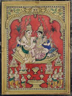 Mysore Painting, Tanjore Painting, Krishna Painting, Pichwai Paintings, Indian Paintings, Indian Temple, Indian Folk Art, Shiva Shakti, Painting Workshop