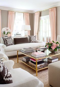 "Neutral taupe walls, blush pink accents, very elegant living room. By Anne Hepfer. ZsaZsa Bellagio: Designer with the ""Classy Touch"""
