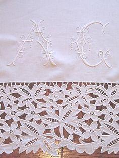Em's Heart Antique Linens -Antique French Linen Monogram Sheet