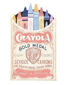 Beautiful drawing of vintage Crayola packet Art And Illustration, Illustrations And Posters, Image Deco, Posca Art, Plakat Design, Design Art, Graphic Design, Poster S, Wow Art
