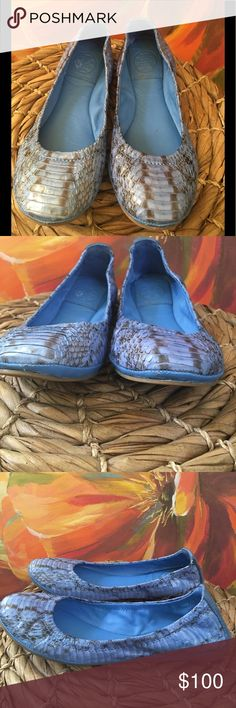 TORY BURCH Blue snakeskin flats size 5 TORY BURCH Blue snakeskin flats size 5 / great condition / minimal wear/review picks for typical use Tory Burch Shoes