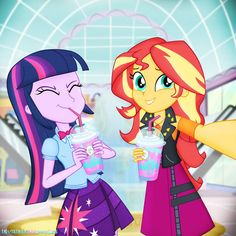 Princess Twilight and Sunset go to the mall to get Unicorn Frappuccinos Unicorn Frappuccino Selfie Equestria Girls, Twilight Sparkle Equestria Girl, Mlp Twilight, Princess Twilight Sparkle, My Little Pony Drawing, Mlp My Little Pony, My Little Pony Friendship, Rainbow Dash, Fluttershy