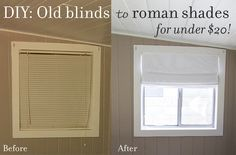 Transform your old blinds into fabric roman shades, no sewing involved!