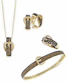 Le vian chocolate diamond pendant in 14 kt strawberry gold le vian jewelry chocolate diamond buckle jewelry ensemble in 14k gold aloadofball Gallery