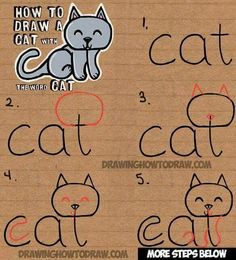 Learn how to draw a cute cartoon kitty cat from the word cat. This another tutorial in our fun cartoon words series. Have fun! drawing for kids How to Draw a Cat from the word Cat Easy Drawing Tutorial for Kids - How to Draw Step by Step Drawing Tutorials Easy Drawing Tutorial, Drawing Tutorials For Kids, Drawing Ideas, Drawing Tips, Drawing Art, Easy Drawing For Kids, Easy Cat Drawing, Drawing Poses, Drawing Lessons For Kids