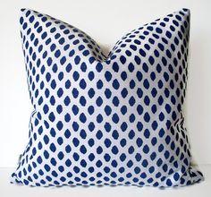 Navy Dots Pillow Lacefield Sahara Midnight Indigo by linenandoak Fabric Decor, Fabric Design, Blue And White Fabric, Blue And White Pillows, Cape Designs, Fabric Strips, Fabric Samples, Ikat, Pillow Covers