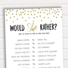 Would She Rather Bridal Shower Game, Bridal Shower Game, Bachelorette Party, Bachelorette Games, What Would the Bride Do Game, Bridal Games by ohhappyprintables on Etsy https://www.etsy.com/listing/585403347/would-she-rather-bridal-shower-game #bridalshowergifts