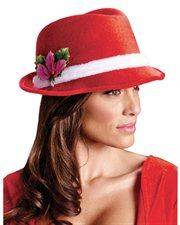Red Fedora with Plush Hatband and Holly Berries Adult Unisex Christmas Santa Hat