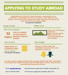 Thinking about studying abroad in Italy, the Balkans or anywhere else while you're at Gordon? Not sure where to start? This info graph is a step by step guide to the application process for programs and gives important contact and deadline information as well as where to find our online application and office.