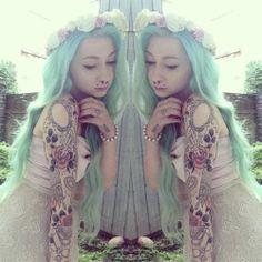 Tattoo Sleeve Girl Lace Hair 26 Ideas For 2019 Harajuku, Goth Princess, Girls With Sleeve Tattoos, Tattoo Girls, Pastel Goth Fashion, Punk, Pastel Hair, Mint Hair, White Hair