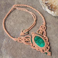 Макраме ожерелье подвеска ювелирные изделия Кабошон Chrysocolla камень ручной работы чешский | eBay