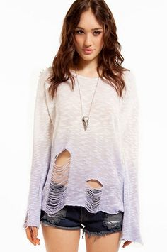 Reverse Burned Notice Studded Sweater $60 at www.tobi.com