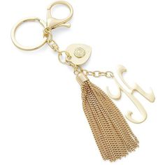 R.J. Graziano K Initial Tassel Keychain ($17) ❤ liked on Polyvore featuring accessories, gold, keychain key ring, ring key chain, gold key chain, gold key ring and initial key chain