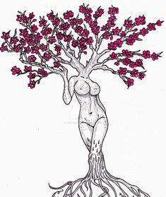 Tree Goddess Version 1 by JenTheRipper on DeviantArt Tree Of Life Art, Tree Art, Floral Drawing, Flower Design Drawing, Tattoo Design Drawings, Art Drawings, Lion Head Tattoos, Illusion Paintings, Cute Coloring Pages