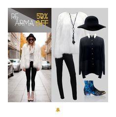 COMING SOON: #REARMA invierno15   TREND ALERT: PIELES Apostá por los abrigos en tonos blancos, marrones, grises y combinados. ¿Un buen tip? Mezclá las distintas pieles y texturas.  Look: - Tapado de Piel Pelo Largo // CTBELL18 - Jean Negro // NICOLE  - Camisa Crepe Irregular // SHBELL11 - Botas cocodrilo // ZBELL32 - Capelina Negra  - Collar Llave