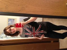 Union Jack! My outfit that displays my love for all things British. I felt my wavy hair also went well with this look, also my dark, sequined jeggings.