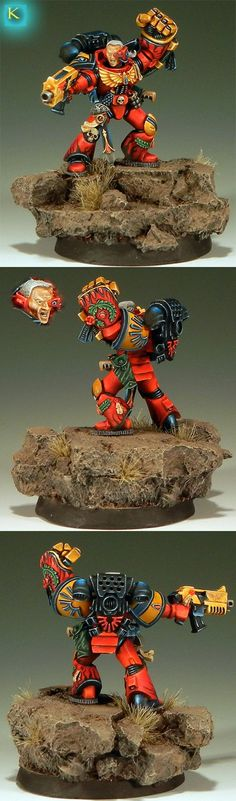 Blood Angel Captain with Powerfist. This model is basically from a painting from the Warhammer 40,000 second edition rulebook.
