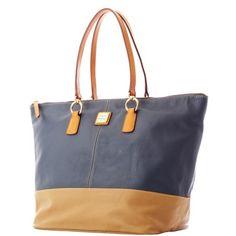 Dooney & Bourke: Lambskin O-Ring Shopper - I like the blue/tan color.
