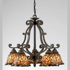 Quoizel TF5002IB Monaco 5 Light Tiffany Chandelier