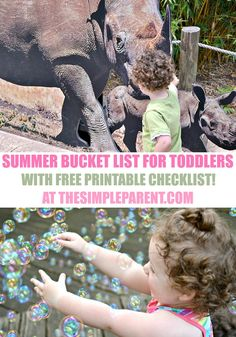 Start making memories with your little ones! Check out this easy summer bucket list for toddlers and have fun! All of the activities are simple to do and most are free or very low cost!