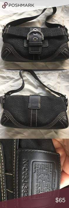 """EUC COACH Small Shoulder Bag in Black C's Signature Black C fabric and black leather with silver hardware, black leather COACH dog tag and snap closure in front. 11""""Lx6 """"Hx2""""W. One zippered pocket on inside. Used just a few times, comes with COACH dustbag. Excellent condition. Please ask all questions prior to purchasing. I do not trade or model and I abide by all posh rules, no deals outside of Posh. All items come from smoke free, pet friendly home. Thank you for stopping by my closet! 😊…"""
