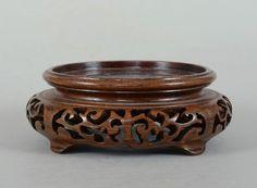 Fine 10.3 cm Vintage Chinese Carved Wood Vase Stand