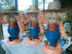 Clay pot scarecrows?