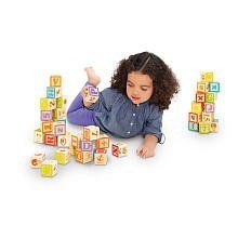 """Imaginarium Wooden Alphabet Blocks - 40-Piece by Toys R Us. $23.99. Recommended Age: 2 years and up. Help your little one learn the ABCs and the 1-2-3s with the Imaginarium Wooden Alphabet Blocks, a Toys""""R""""Us exclusive. This set features 40 easy-to-grab blocks decorated with multi-colored numbers, uppercase and lower case letters, shapes, animals and other various pictures and words. The blocks can be stacked to build the tallest tower, or your tiny tyke can s..."""