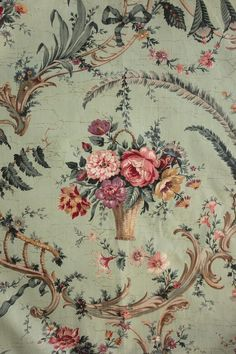 Antique French Chintz fabric material Celedon Pillement inspired basket floral