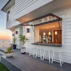 Great Home Project: Pass-Through Kitchen Window Indoor Outdoor Kitchen, Outdoor Kitchen Design, Patio Design, Outdoor Spaces, House Design, Outdoor Ideas, Outdoor Bars, Outdoor Kitchens, Indoor Bar