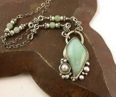 Reserved  Aquamarine Pendant Necklace Orbs by SimplyAdorning, $62.00
