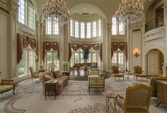 his 2-story great room is located in the 48,000 square foot Champ d'Or estate in Hickory Creek, TX