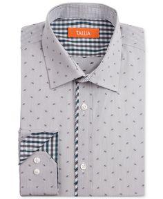 Tallia Dress Shirt, Slim-Fit Square Dot Long-Sleeved Shirt - Dress Shirts - Men - Macy's