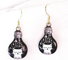 Excited to share this item from my #etsy shop: Vintage Quirky cat in a light bulb earrings, Novelty cat earrings, Enamel cat earrings, Dangle earrings, Christmas gift.