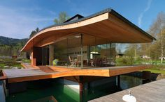 'Autarc home' - a floating (!!!) Passive House research design by Weisseneer in Austria. From what I understand, it turns according to season.