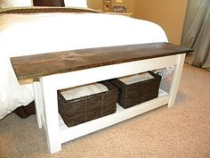 end of bed bench/table from thrifty and chic blog with other projects