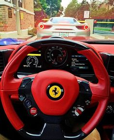 Ferrari gang!  Tag a friend that loves this car! Do you like the red and black…