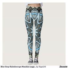Blue Gray Kaleidoscope Mandala Leggings