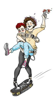 punk louis and flower crown harry that is like me and my boyfriend i am the punk and he loves flowers in his hair Larry Stylinson, Mamamoo, Harry Styles Fetus, Find A Song, Mutual Respect, Louis And Harry, Funny Illustration, Kpop, Grumpy Cat
