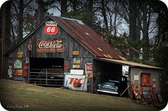 Very old Coca Cola signs on an old barn, love this one!