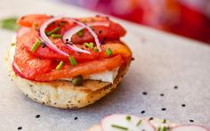 Tangy cashew cream cheese, tomato lox, and a toasty bagel ... This is the perfect New York-style breakfast.