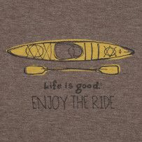 Apologies as this classic from Life Is Good  is no longer available. Be sure to visit LifeisGood.com #Kayak #Tees #kayaktees