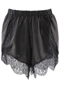 Black Patchwork Lace Chiffon Shorts
