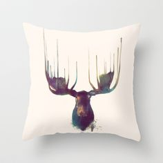Moose Throw Pillow by Amy Hamilton - $20.00 ----- For anyone reading this,  I want this pillow!!! easter is coming!!! <3
